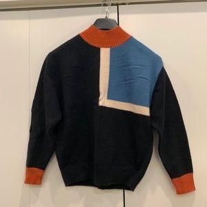 Black Geometric Mockneck Sweater
